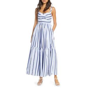 J. Crew Shirting Stripe Tiered Maxi Dress